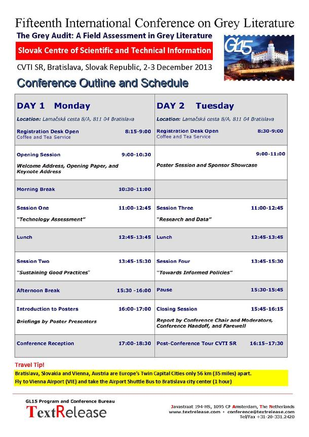 GL15 Conference Outline and Schedule