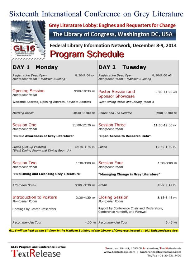 GL16 Program Schedule