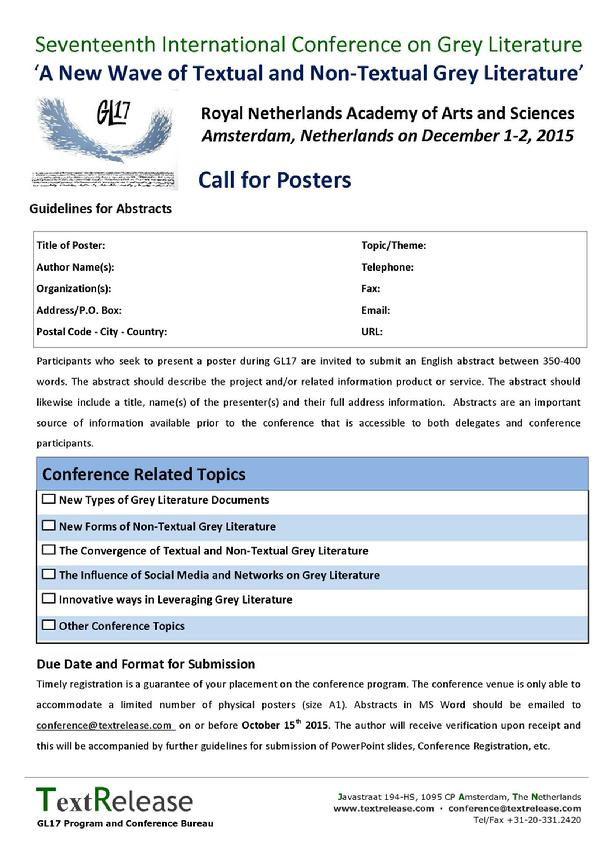 GL17 Call for Posters