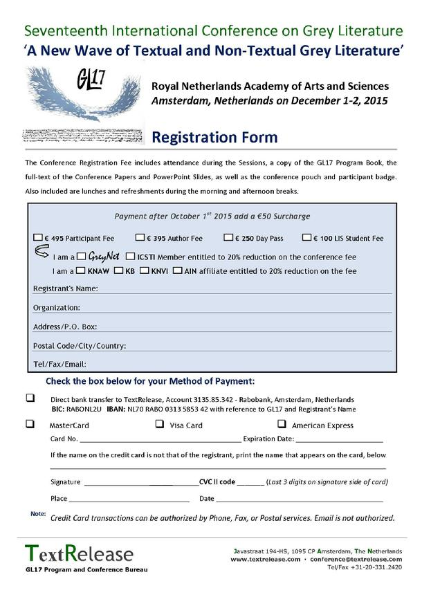 GL17 Conference Registration Form