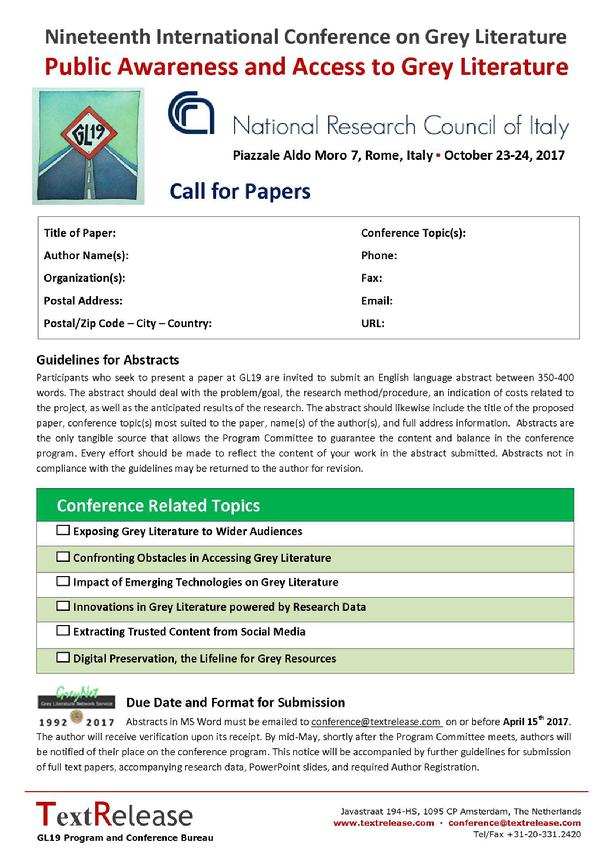 GL19 Call for Papers