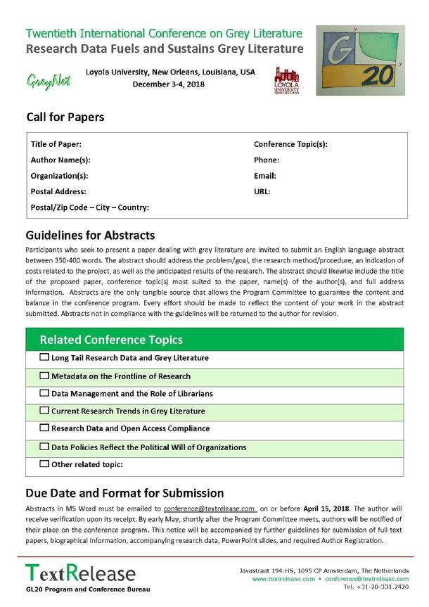 GL20 Call for Papers